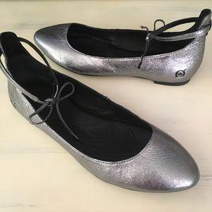 Born Kharen Silver Ankle Tie Flats